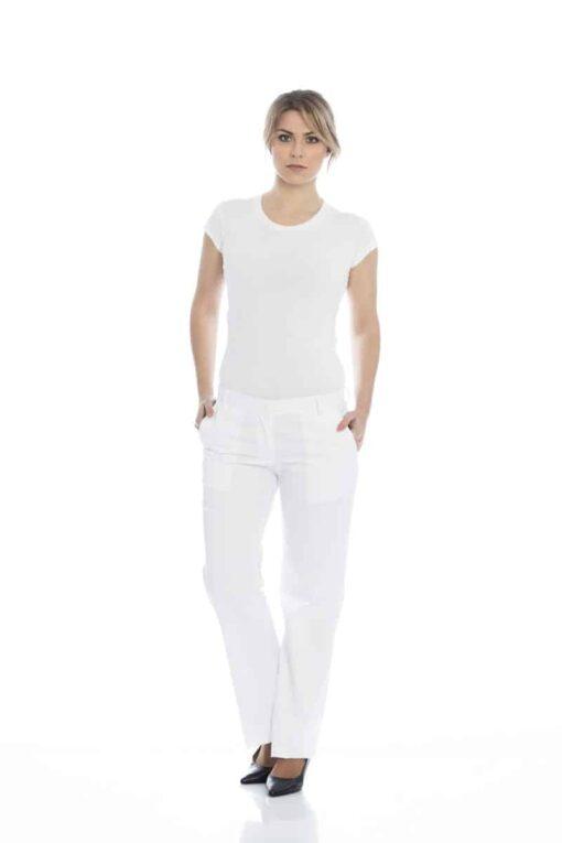 Calças de senhora em branco ou preto.