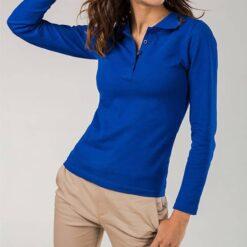 Polo Mulher azul manga comprida modelo