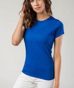 Tshirt senhora ankara azul, cintada.