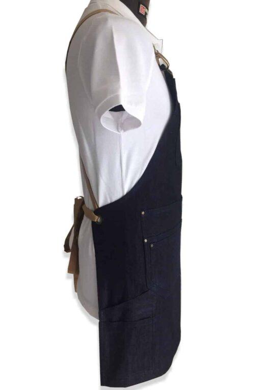 Denim apron multipocket side view