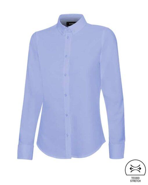 Camisa senhora stretch restauração azul