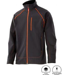 Casaco softshell bicolor preto laranja