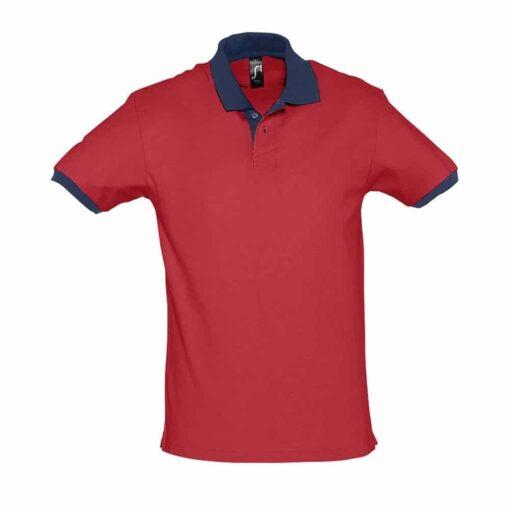 Polo Prince Vermelho - Azul Marinho